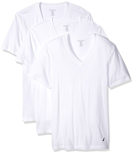 Nautica Men's Cotton V-Neck T-Shirt-Multi Packs, White New-3, M