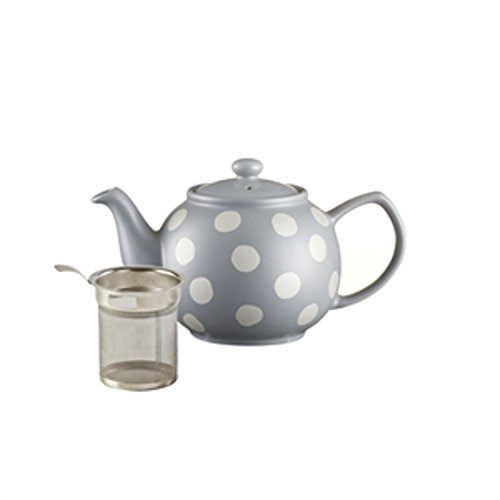 Price & Kensington Filter Stoneware Teapot, 37-Fluid Ounces, Silver Spot, Gray