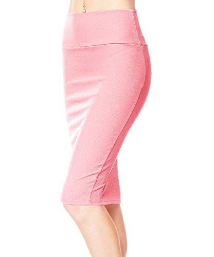 Urban GoCo Falda de Lápiz Estirada de Cintura alta Bodycon Rosa