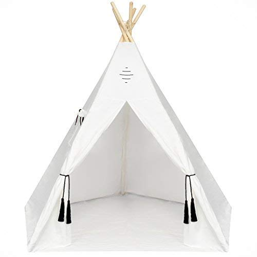 Nature's Blossom Kids Teepee Tent 6 Feet Tipi with Floor, Five Poles, Window Carrying Bag. Foldable Playhouse for Indoor or Outdoor Play. Popular Gift for Thanksgiving Christmas, Off-White, ()