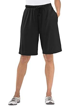Women's Plus Size Shorts In Soft Sport Knit Black,1X