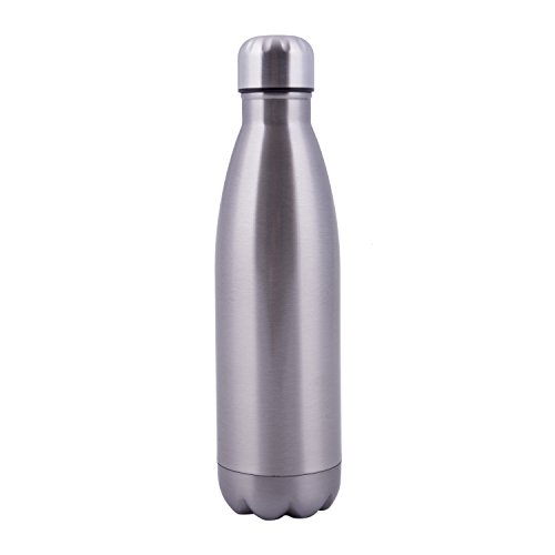 Sports Water Bottles 17 ounces Double Wall Vacuum Insulated Stainless Steel Mug (Silver)