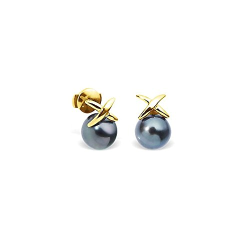 Boucles d'Oreilles Perles de Tahiti et or jaune 750/1000 -Blue Pearls-BPS K352 W