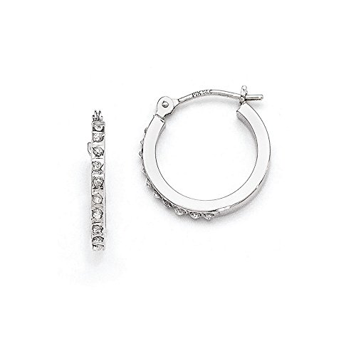 14k White Gold Diamond Fascination Hinged Hoop Earrings, Diamond CTW 0.01