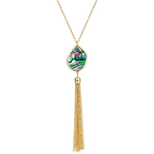 BOUTIQUELOVIN Abalone Shell Pendant Long Gold Tassel Necklaces for Women Girls Fashion Gift Jewelry