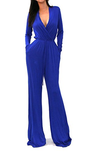 VIVICASTLE Sexy Wrap Top Wide Leg Long Sleeve Cocktail Knit Jumpsuit (Small, Royal blue)