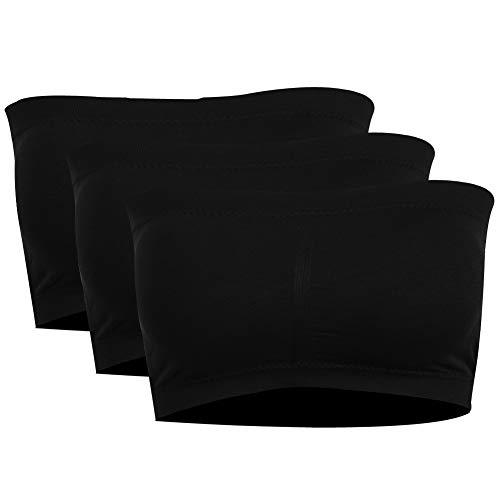 PUREMSX Comfort Basic Strapless Bra, Women's Boob Padded Seamless Spandex Breathable Sports Bandeau Bra Plus Tube Bra Strapless Pushup Bra Black,3 Pack ()