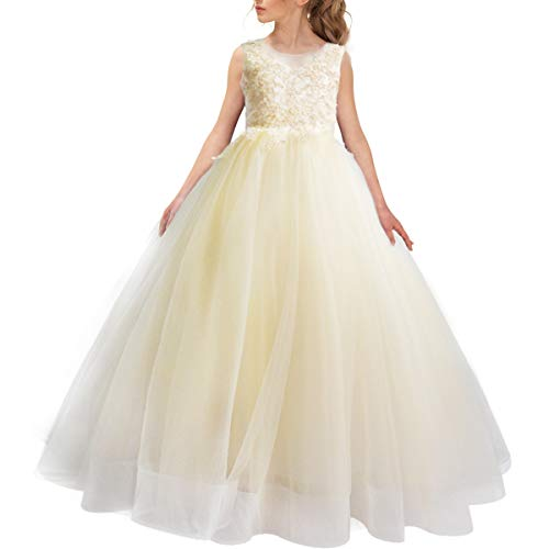 Elegant Champagne Flower Girl Dresses Lace Embroidery Ball Gown Pageant Wedding Party Ankle Length Puffy Tulle ()