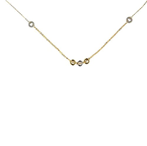 18kt Yellow Gold Chain with Yellow and White gold Circles Necklace 16 inches by Amalia