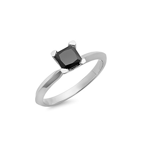 - Dazzlingrock Collection 0.50 Carat (ctw) Sterling Silver Black Diamond Solitaire Bridal Engagement Ring 1/2 CT, Size 7