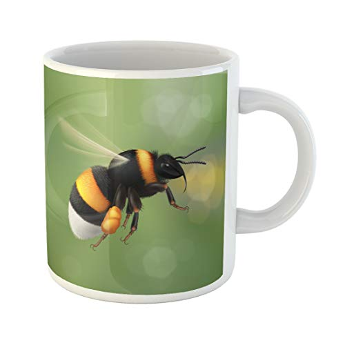 Emvency Funny Coffee Mug Flying Bumblebee Species Bombus Terrestris Common Name Buff Tailed Large 11 Oz Ceramic Coffee Mug Tea Cup Best Gift Or Souvenir