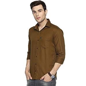 LEVIZO Cotton Casual Plain Shirt for Men Full Sleeves Regular Fit