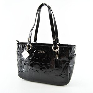 Coach Signature Embossed Logo Patent Leather Gallery Bag Tote Black