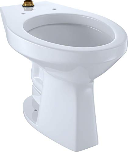 TOTO CT705ULNG#01 White-CT705ULNG Elongated 1.0 GPF Floor-Mounted Flushometer ADA Compliant Toilet Bowl with Top Spud and CeFiONtect Cotton White