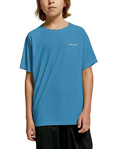 Baleaf Youth Boys' Workout Training Shirts Athletic T-Shirts Short Sleeve Running Football Cool Dry Blue L