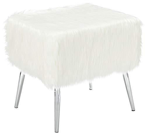 Cortesi Home CH-OT905467 Olivia Faux Fur Ottoman with Chrome Legs, 20