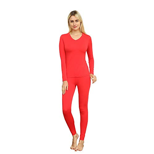 VIPEX Women's Micromodal Thermal Underwear Low Collar Invisible Long Johns Winter Base Layering Set (Red, X-Large) -