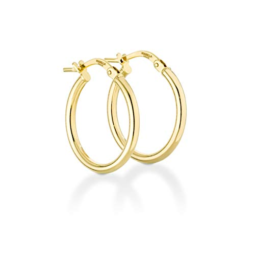 Miabella 18K Gold Over Sterling Silver Italian 2mm Polished Round Hoop Earrings for Women Men 15mm, 20mm, 30mm, 40mm, 50mm, 60mm (20) ()