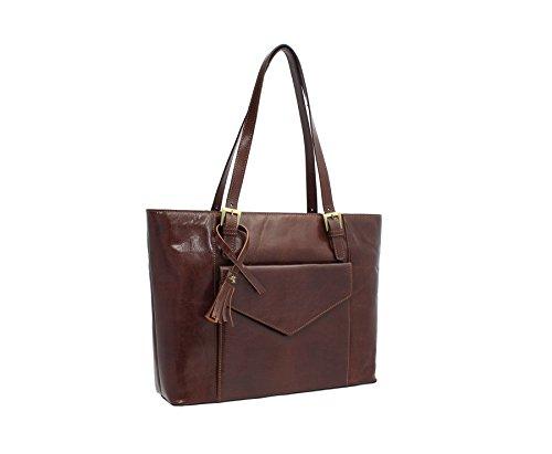 Visconti Vintage Collection italiana Francesca Bolsa de trabajo de cuero A4 ITL79 bronceado oscuro marrón