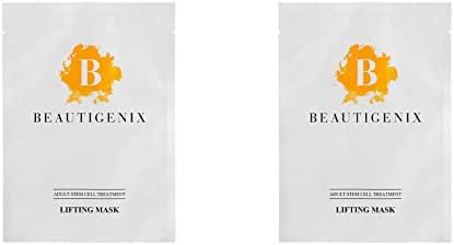 Beautigenix Korean Facial Sheet Mask - Lifting Serum with Regenerative Stem Cell - Firm and Tone for Improvement of Fine Lines and Wrinkles, 2 Masks and Facial Care and Instructional PDF
