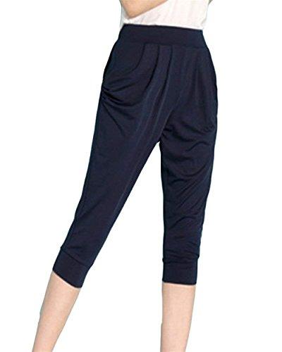 Donna Eleganti Estivi Sciolto Tempo Per Accogliente Monocromo Pluschic Elastico Pantaloni Pureed Libero Capri Harem Prodotto Marine qxIaFEwwBW