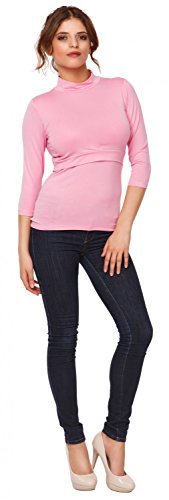 Happy Mama. Mujer top camiseta premamá y lactancia cuello alto doble capa. 987p Polvo de Color Rosa