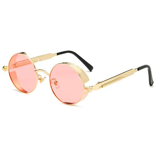 Protection Pink Metal Men gold Glasses Polarized Frame for Sports Youtato Frame Sun Vintage UV400 Retro Outdoor Sunglasses Steampunk Shopping Women Lens HD Travelling Driving PwqY6xA