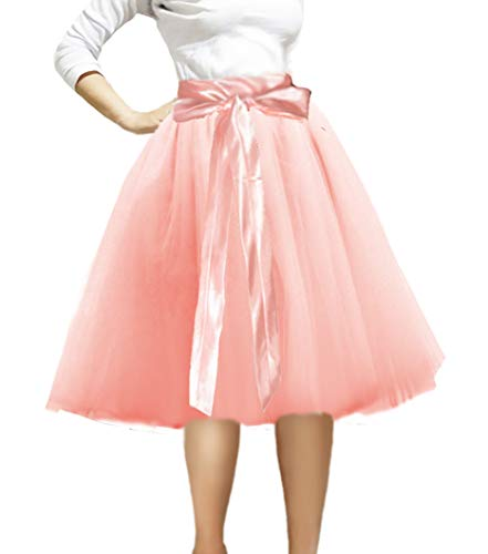 CahcyElilk Blush Pink Tulle Skirt Knee Length Tutu Prom Princess Party Dance Skirt with Belt Blush Small]()