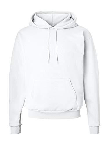 Hanes Men's Pullover EcoSmart Fleece Hooded Sweatshirt, White, (Cotton Fleece Pullover)