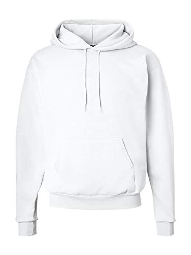Hanes Men's Pullover EcoSmart Fleece Hooded Sweatshirt, White, Small
