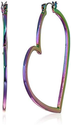 Betsey Johnson (GBG) Women's Oil Slick Abstract Heart Hoop Earrings, Oil Slick, One Size