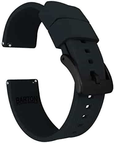 22mm Black - Barton Elite Silicone Watch Bands - Black Buckle Quick Release