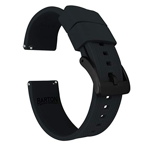Barton Elite Silicone Watch Bands - Black Buckle Quick Release - Choose Strap Color & Width - Black 22mm (Pulsar Mesh Watch)