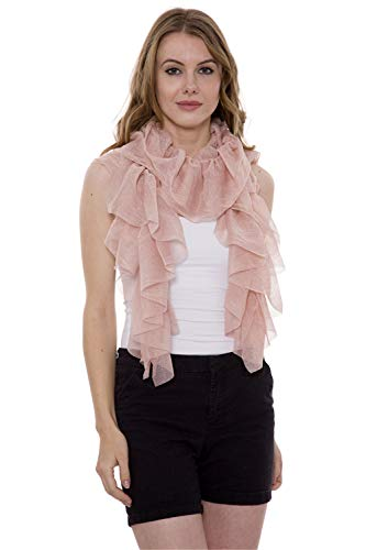 Ruffle Scarf - Women's Summer Scarf Lightweight Shining Ruffle Wrap Summer Scarf (Pink)