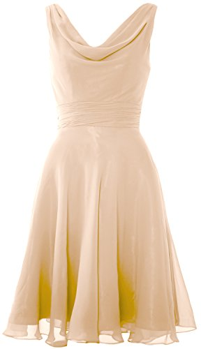 MACloth Elegant Cowl Neck Cocktail Dress Short Wedding Party Bridesmaid Gown Champagne