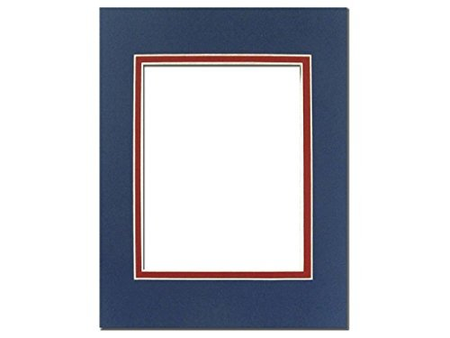 PA Framing, Double Layer Mat, 11 x 14 inches - White Core Bottle Blue and Deep Red ()