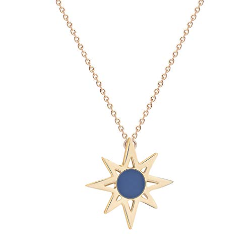 Frodete Fashion Sunshine Sunburst Pendant Necklace Women Shiny Sun Beam Necklace Geometric Round Triangle Jewelry (Gold)