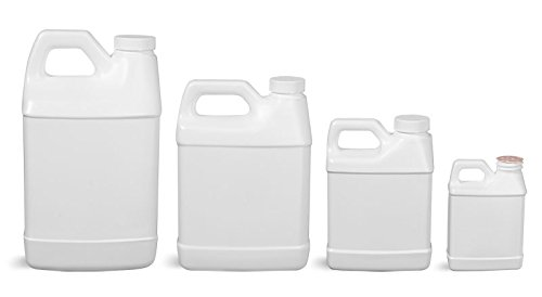 64 Oz. White HDPE F-Style Jugs w/ Foam Induction Lined Caps (6 Bottles) (Oz 64 Bottles Six)