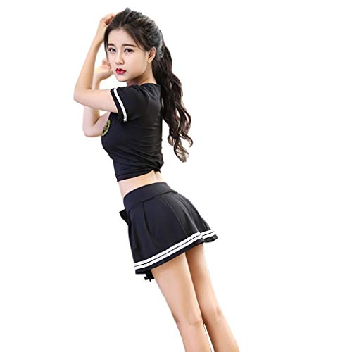 XILALU Women Sexy Lingerie Sexy Suit Sexy Uniform Cosplay Stage Costume Football Baby Black
