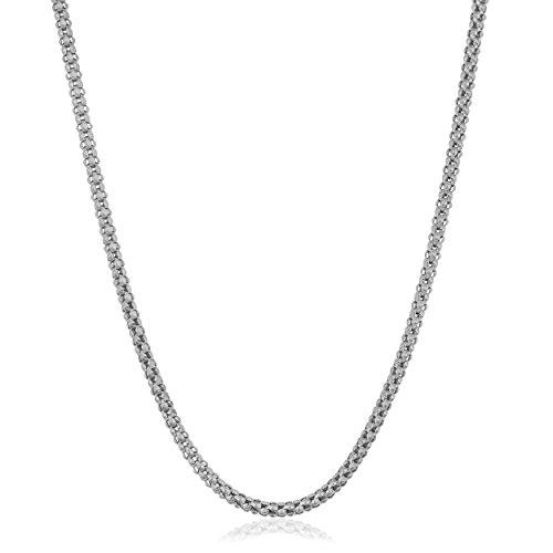 Kooljewelry 14k White Gold 1.6 mm High Polish Popcorn Chain Necklace (16 inch)