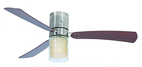Craftmade STU54PLN3 Studio Ceiling Fan with Walnut Blades and Amber Frost/Hammered Clear Glass, Polished Nickel, 54
