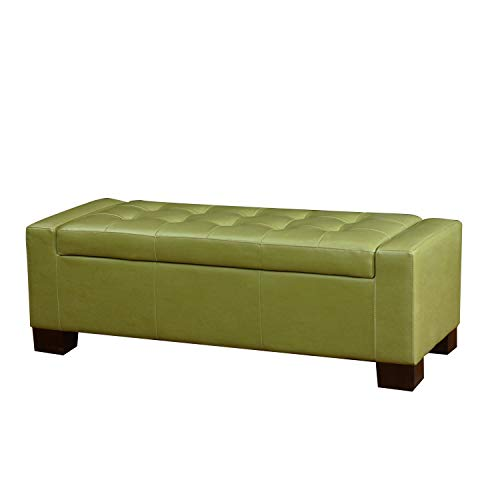 Homebeez Bonded Leather Tufted Accents Rectangular Storage Bench Ottoman Footstool (Green)