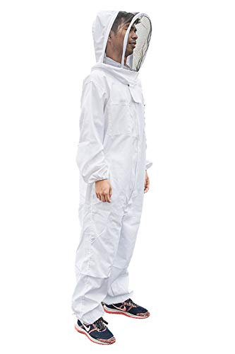 Bee Suit Beekeeping Suit for Men Women, Professional Polyester Cotton Full Body Beekeeper Suit with Veil Hood, Total Protection for Professional and Beginner Beekeepers (US Stock) (XXL)
