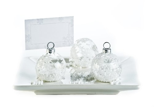 Snow Flurry Flocked Glass Ornament Place Card Holders (set of 6)
