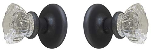 Reproduction of the 1920 Depression Crystal Glass FRENCH DOOR Knob Sets with no exposed screws. (Oil Rubbed Bronze Hardware)(Ver 2.ORB8: Standard French Door) ()