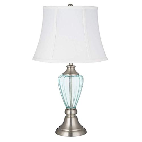 Ravenna Home Curved Glass Living Room Table Lamp With LED Light Bulb - 14 x 14 x 24.25 Inches, Brushed Nickel With Blue Glass ()