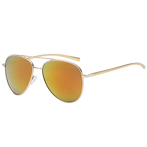 Polarspex Classic Men and Women Polarized Flex Hinge Aluminum Aviator Sunglasses Aluminum Gold | Polarized Lava Red