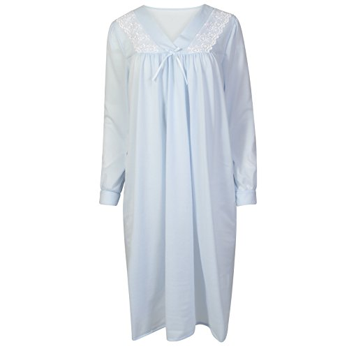 Señoras manga larga poliéster cepillado camisón transparente. Color rosa, azul o blanco tamaños 12/1416/1820/2224/26 Rosa
