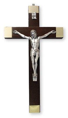 20cm en bois de noyer à suspendre mural Argent Crucifix Jésus (10598) avec un Jeton de double cœur Amour en étain Broche ESP
