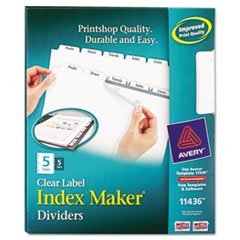 (Avery 11436 Index Maker, Laser, Punched, 5-Tabs, 5 ST/PK,)